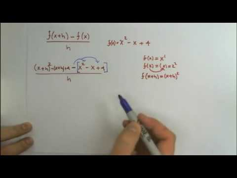 Evaluate the Difference Quotient y=x^2-x+4