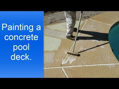 Applying H&C Acryla Deck with cool feel technology to a concrete pool deck.