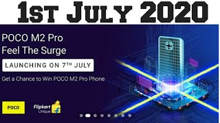 Flipkart quiz answer today 1st July 2020 l win POCO m2 pro l The surge l flipkart quiz today I quiz