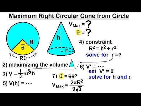 Calculus 1: Max-Min Problems (23 of 30) Maximum Right Circular Cone