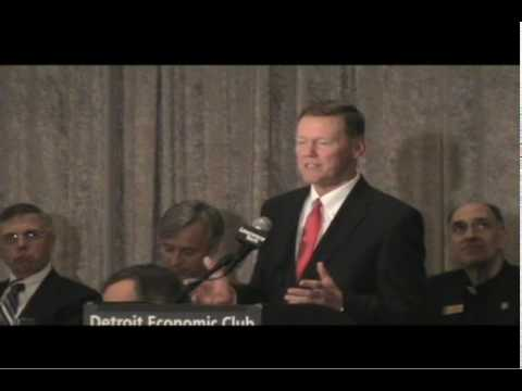 Ford Motor Co. President and CEO Alan Mulally addresses the Detroit Economic Club Jan. 15, 2010