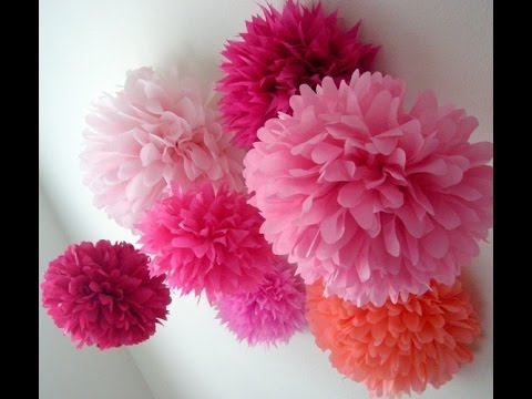 How to make pom pom flower with crepe paper in just  2mins