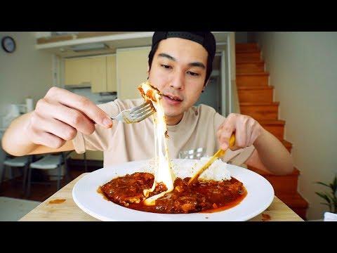 Spicy Cheese Tonkatsu - MUKBANG