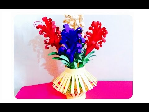 How to make a paper flower bouquet I Lavender flowers basket | Artsncraft