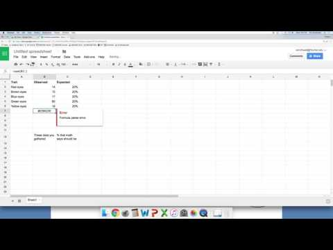 Chi square using a spreadsheet