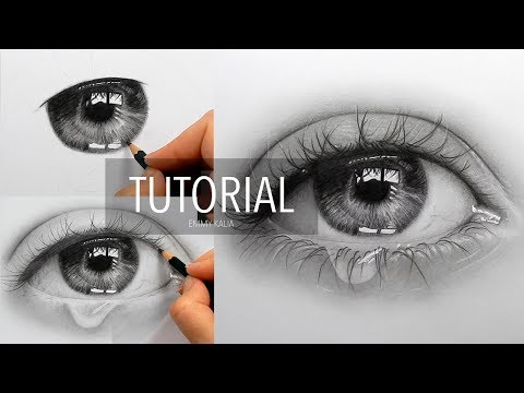 How to draw, shade a realistic eye with teardrop | Step by Step Drawing Tutorial
