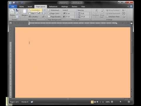 How to change Microsoft Word page colour