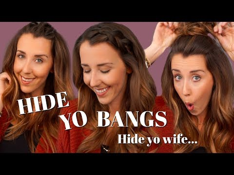 HOW TO HIDE YOUR BANGS! SIMPLE HAIRSTYLES TO HIDE YOUR BANGS,  HOW TO GROW OUT YOUR BANGS!