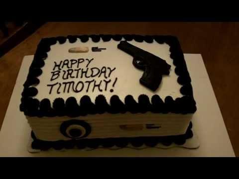 Fondant Gun Birthday Cake