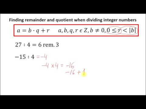 Finding remainder and quotient when dividing integer numbers