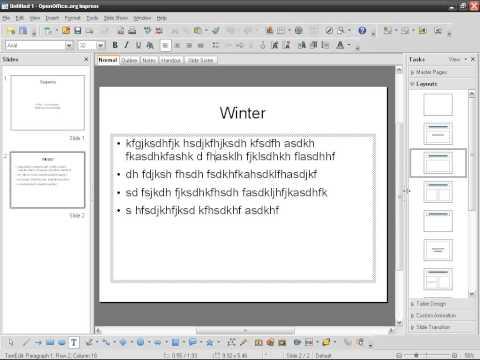 OpenOffice Impress (02): Inserting text