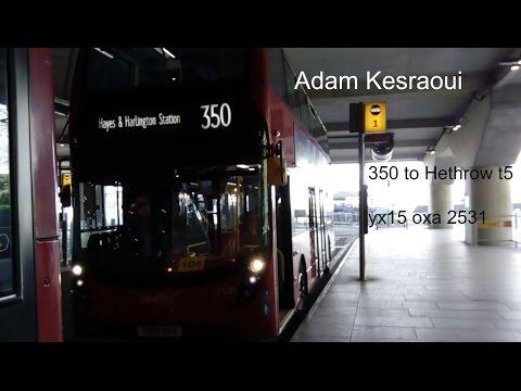 London bus 350 to Heathrow terminal 5 yx15 oxa 2531