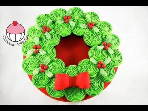 CHRISTMAS CUPCAKE CAKE! Pull-Apart Xmas Wreath Cake - A Cupcake Addiction How To Tutorial