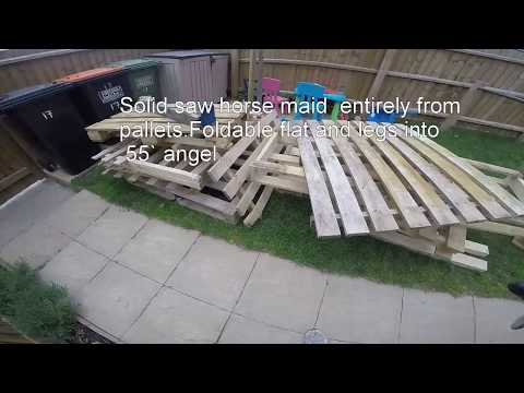 Flat pack style Fold-able saw horse from pallets and quick set up work bench