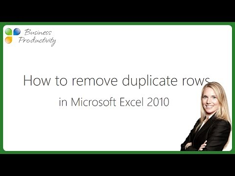 How to remove duplicate rows in Microsoft Excel 2010