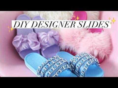 DIY CHANEL + FENTY INSPIRED SLIDES | rachspeed