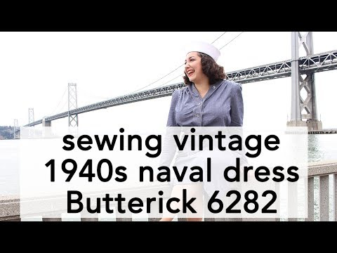 How to Sew 1940s Navy Dress, Butterick 6282   Vintage on Tap