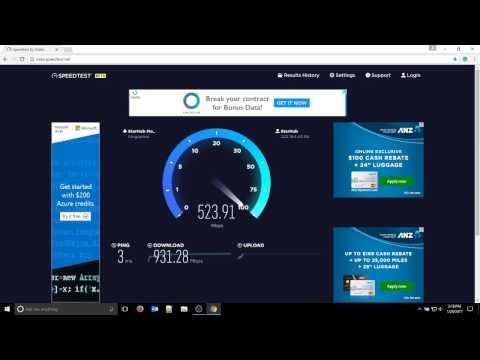Starhub 1Gig fiber broadband speed test on Windows 10 laptop