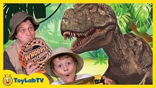 GIANT Life Size T-REX Dinosaur vs Park Ranger Aaron In Real Life at Playground in Fun Kids Toy Video