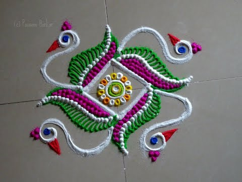 Daily rangoli design series #4 | Kolam with 5*5 straight dots | Easy rangoli by Poonam Borkar