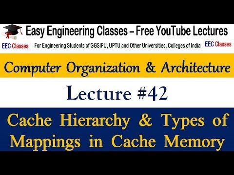 COA Lecture 42 - Cache Hierarchy, Cache Line & Mappings in Cache Memory