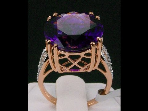 12.59ct Genuine Moroccan Amethyst with Diamonds 18k Rose Gold Ring