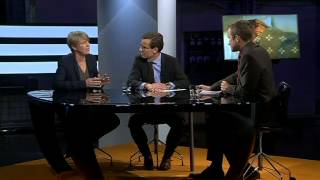 Ulf Kristersson (M) och Irene Wennemo debatterar de ökande sjukskrivningarna i november 2013,