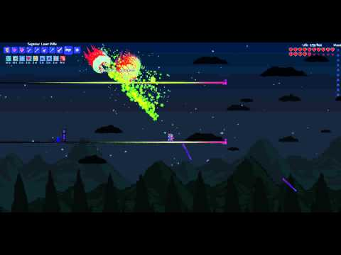 Terraria PC 1.1 - Twins vs Shadow Armor, Laser Rifle and HM Accessories