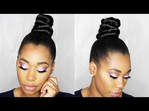 How To: NINJA TOP KNOT BUN With BRAIDING HAIR Step By Step|ChimereNicole