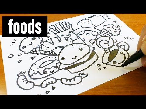 How to draw cute & kawaii doodle ! Foods doodle for kids