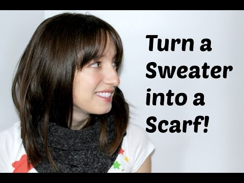 How to Make a Scarf From a Sweater: Easy DIY! No-Sew Option | TheKateeMeow