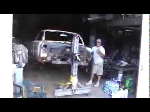 Home built car rotisserie built mostly from scrap steel