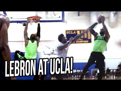 LEBRON JAMES Hoops at UCLA Gym VS LiAngelo Ball, UCLA & NBA Players!