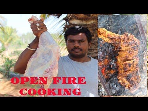 FULL GOAT LEG ROAST IN OPEN FIRE   TANDOORI STYLE   HEALTHY VILLAGE FOOD