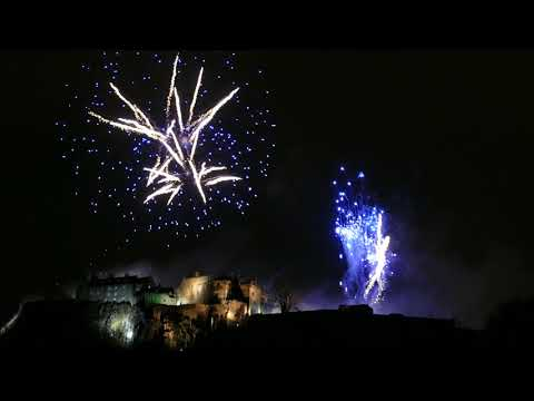 Stirling Castle Firework Display, New Year 2018. (4K)