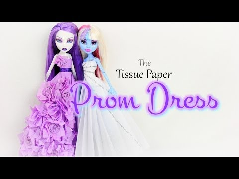 DIY - How to Make: Tissue Paper Prom Dress  - BACK TO SCHOOL - Handmade - Doll - Crafts