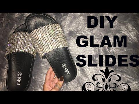 DIY GLAM SLIDES - RHINESTONE SLIDES