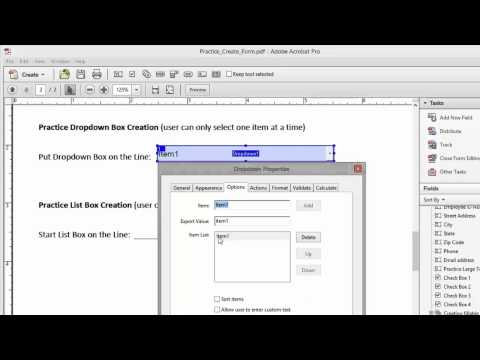 Creating a Dropdown Box in Adobe Acrobat Pro