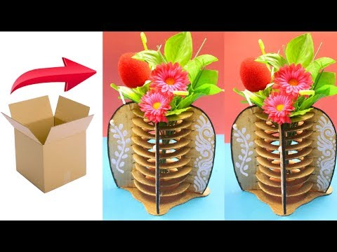DIY - How to make flower vase with cardboard - Unique home decorative vase using recycled cardboard