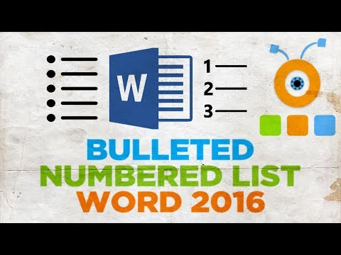 How to Create Bulleted or Numbered List in Word 2016