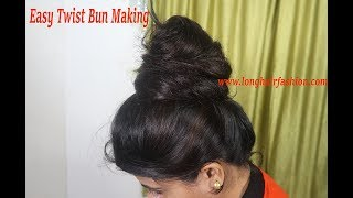 Traditional Indian Long Hair Bun Sensual Bun Drops With Knee