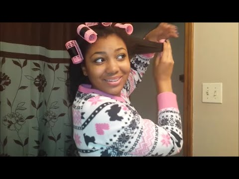 Night Time Hair Routine for Straight Hair   Roller Wrap & Feathered Hair