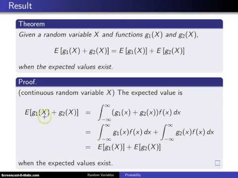 Expectation of the sum of two functions of a random variable