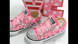 HOW TO EMBELLISH CONVERSE USING FLATBACK RHINESTONES AND PEARLS DIY TUTORIAL
