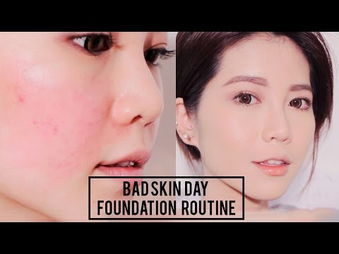 Bad Skin Day Foundation Routine l Acne +Combination to Oily Skin