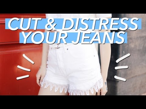 How to Cut & Distress Jean Shorts (Lace Cutoffs!) | WITHWENDY