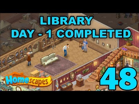 HOMESCAPES STORY WALKTHROUGH - LIBRARY - DAY 1 COMPLETED - GAMEPLAY - #48