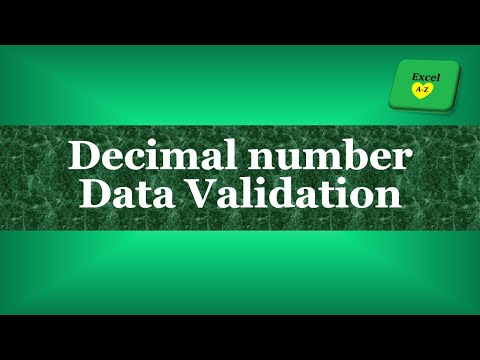 How to Create Data Validation for Decimal Number in Excel 2013