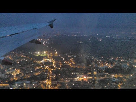 Evening Landing in Turin Airport, Italy. Snowy Mountains at Sunset. Airbus A320 British Airways