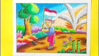 Menggambar Dan Mewarnai Bendera Indonesia Tema Hari Kemerdekaan Speed Paint